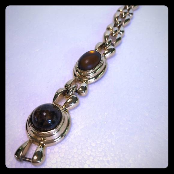 Monet double cabochon gold tone link brace…